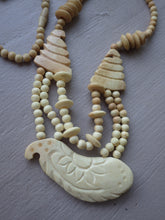 Load image into Gallery viewer, VINTAGE MONIES GERDA LYNGGAARD CARVED WHITE HORN DOVE BEADED NECKLACE PENDANT
