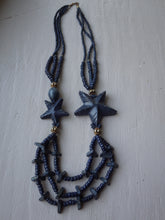 Load image into Gallery viewer, STATEMENT MONIES GERDA LYNGGAARD NAVY BLUE STAR CARVED WOOD HORN NECKLACE