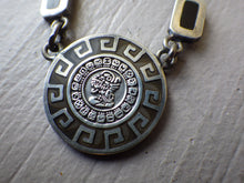 Load image into Gallery viewer, STERLING SILVER MEXICO SIGNED MD-12 ONOX INLAY MAYAN CALENDAR PENDANT NECKLACE