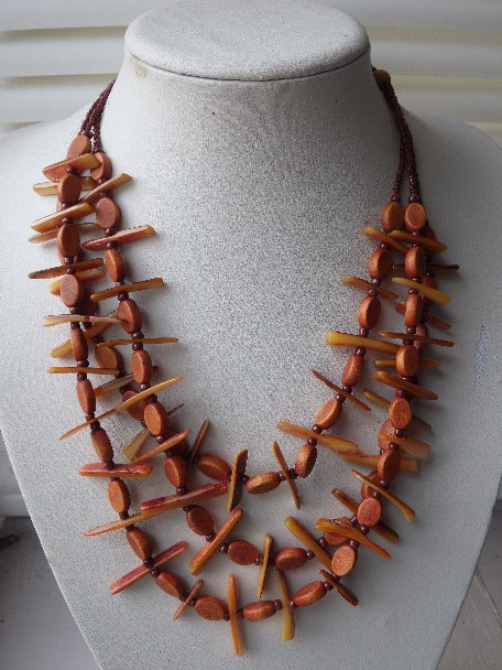 AMAZING STATEMENT MONIES GERDA LYNGGAARD SHELL MULTI STRAND NECKLACE