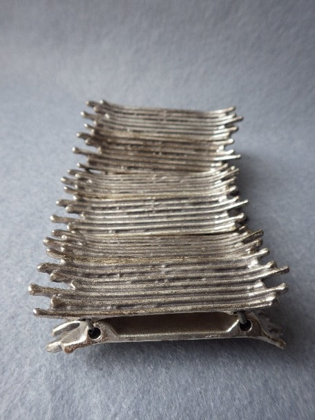 MODERNIST BRUTALIST STATEMENT PEWTER STRETCH BRACELET VIDAL STYLE