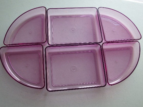 70's Space Age Andrew Morin Pink Divided Oval Platter Dish