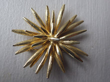 Load image into Gallery viewer, VINTAGE MARCEL BOUCHER GOLD TONE & TEXTURED STARTBURST BROOCH SIGNED