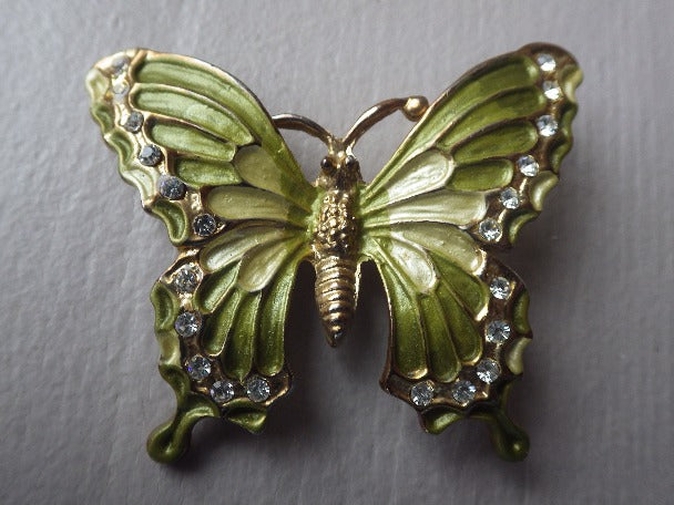 VINTAGE GREEN & GOLD ENAMEL BUTTERFLY BROOCH WITH RHINESTONES