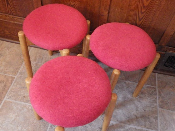 Set of 3 Mid Century Modern Beechwood Stacking Stools