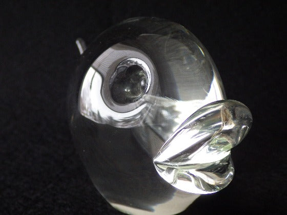 Modernist Clear Glass Crystal Stylized Fish Elio Raffaeli