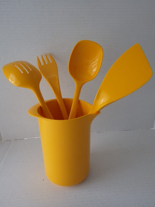 Vintage 70's Yellow Rosti Mepal Pitcher & Utensils Denmark
