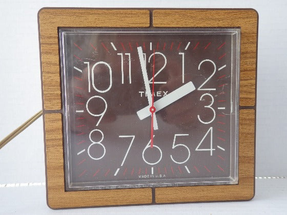 MCM Electric Wood Grain Timex Wall Clock