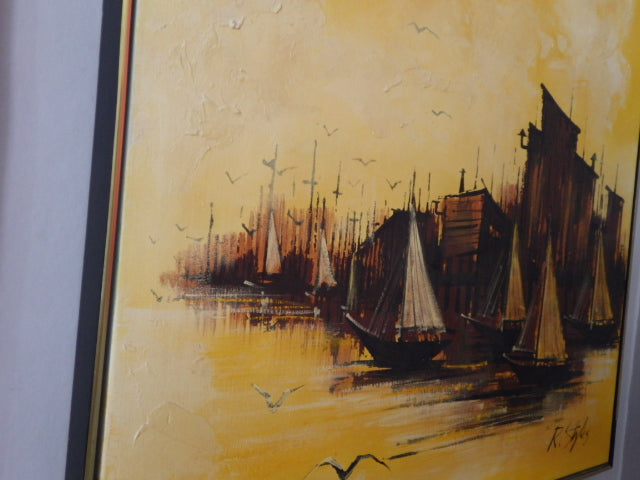 Ray N. Styles Brutalist Tall Ships Original Squared Oil on Canvas