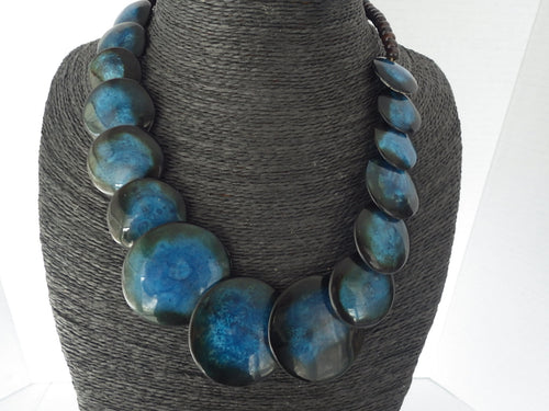 Vintage Monies Blue Lucite Disc Lollipop Necklace