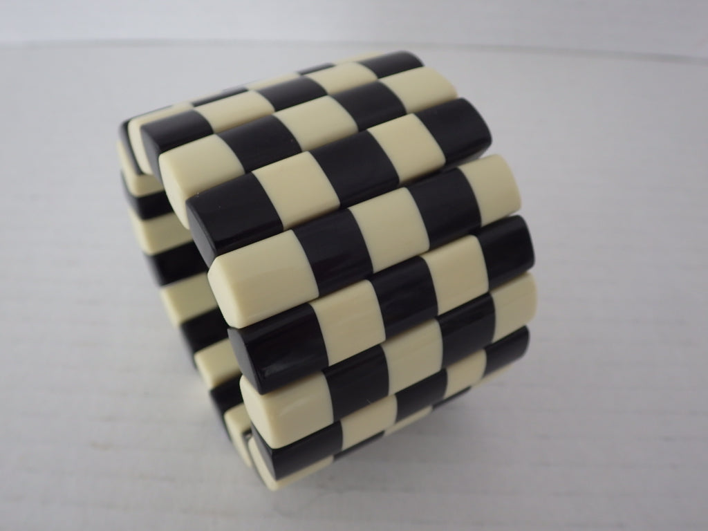 Monies Gerda Lynggaard Black & White Checkerboard Lucite Stretch Bracelet
