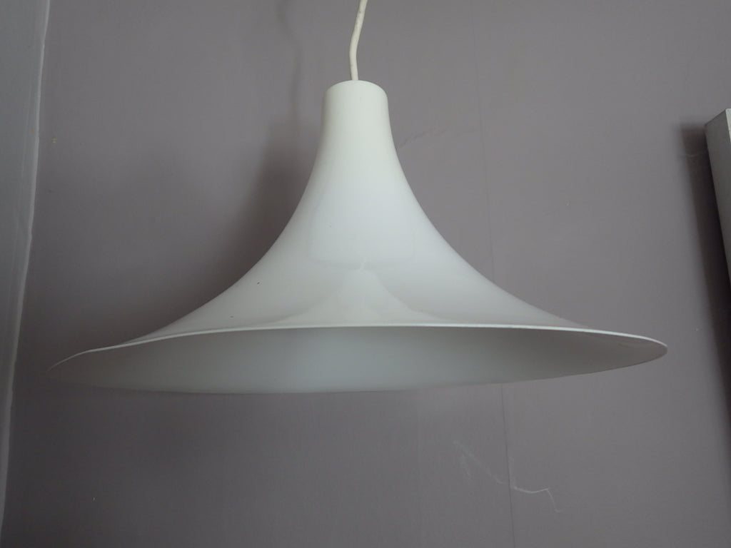 1970's White Trumpet Thorop Swag Lamp Fog & Morup