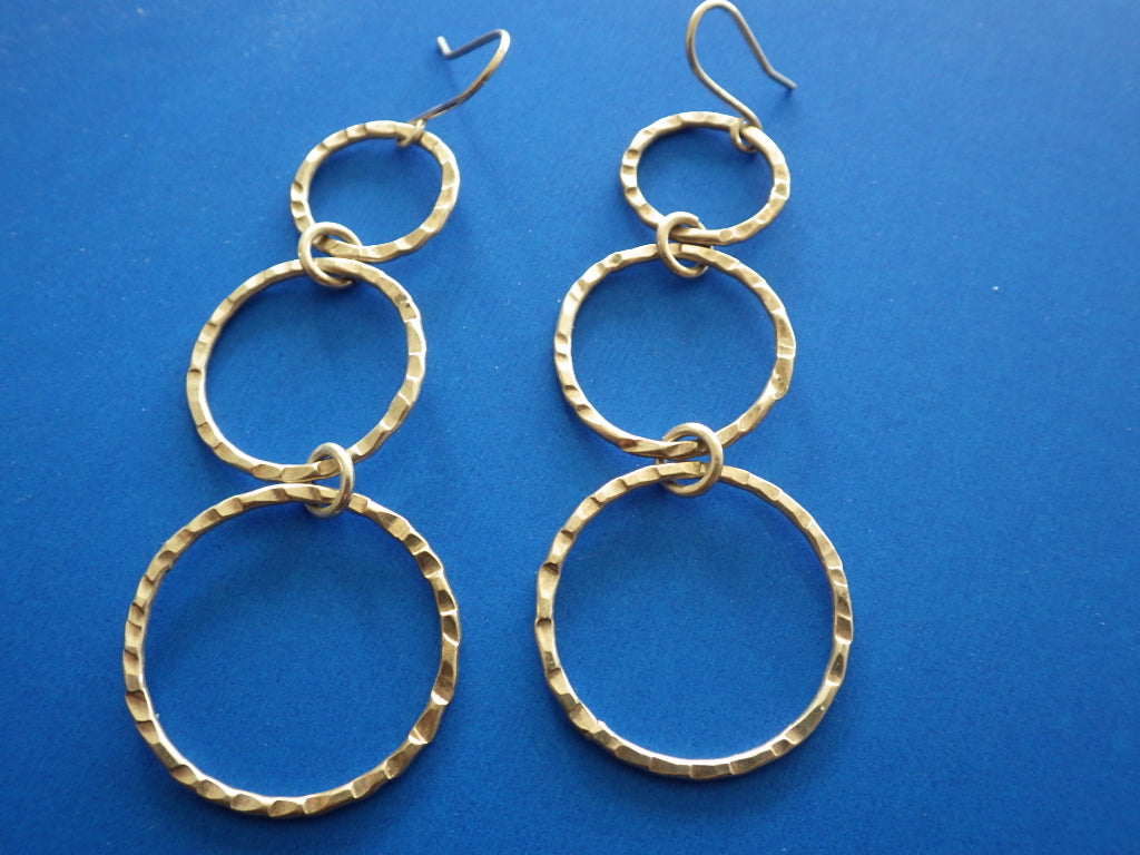 Vintage Sterling Silver Hammered Triple Circle Dangle Earrings