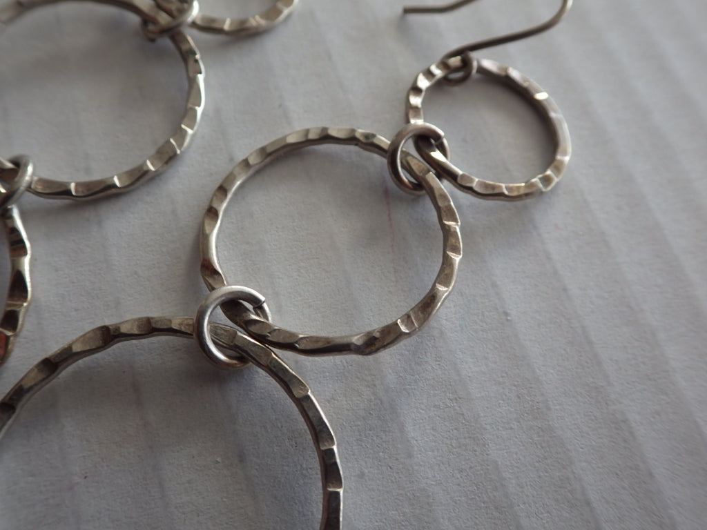 Modernist Sterling Silver Hammered Triple Circle Dangle Earrings