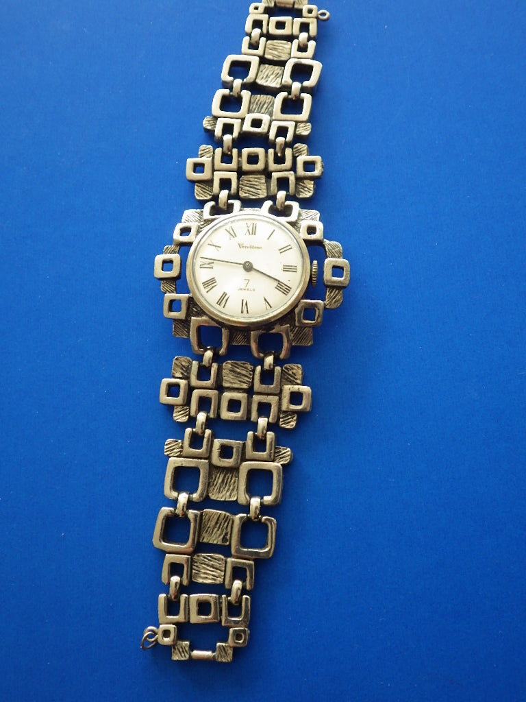 Modernist Vendome Pewter Wind Up Watch  - 7 Jewels