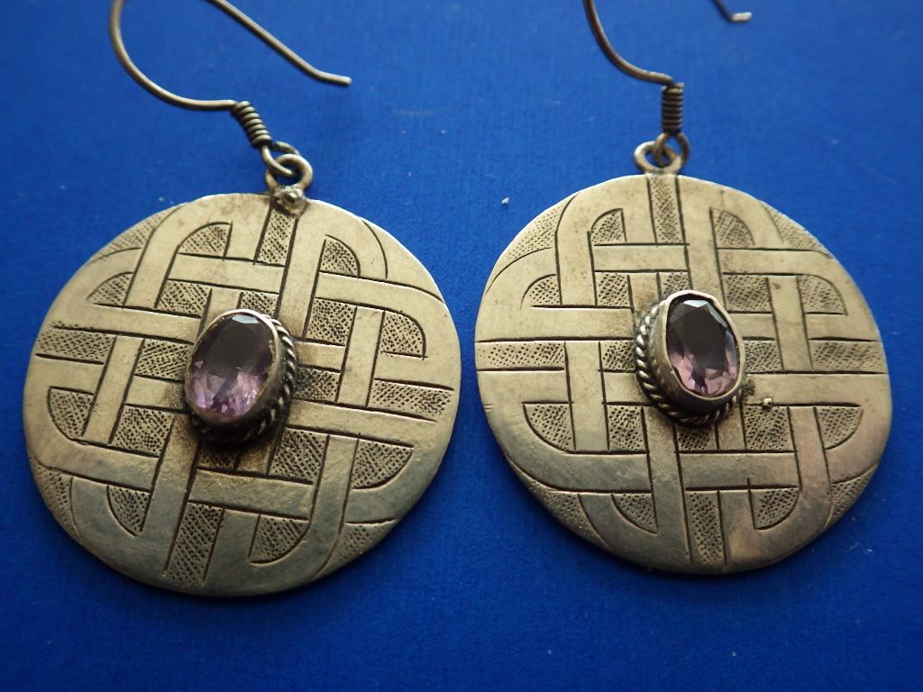 Vintage Danish 925 Sterling Silver Celtic Amethyst Earrings