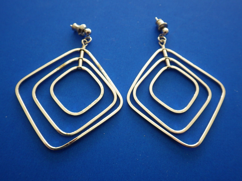 Sterling Silver Signed V. N. Dangle Pendant Earrings