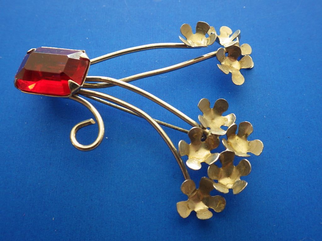 Vintage Sterling Silver Flower Red Rhinestone Brooch Signed VJ