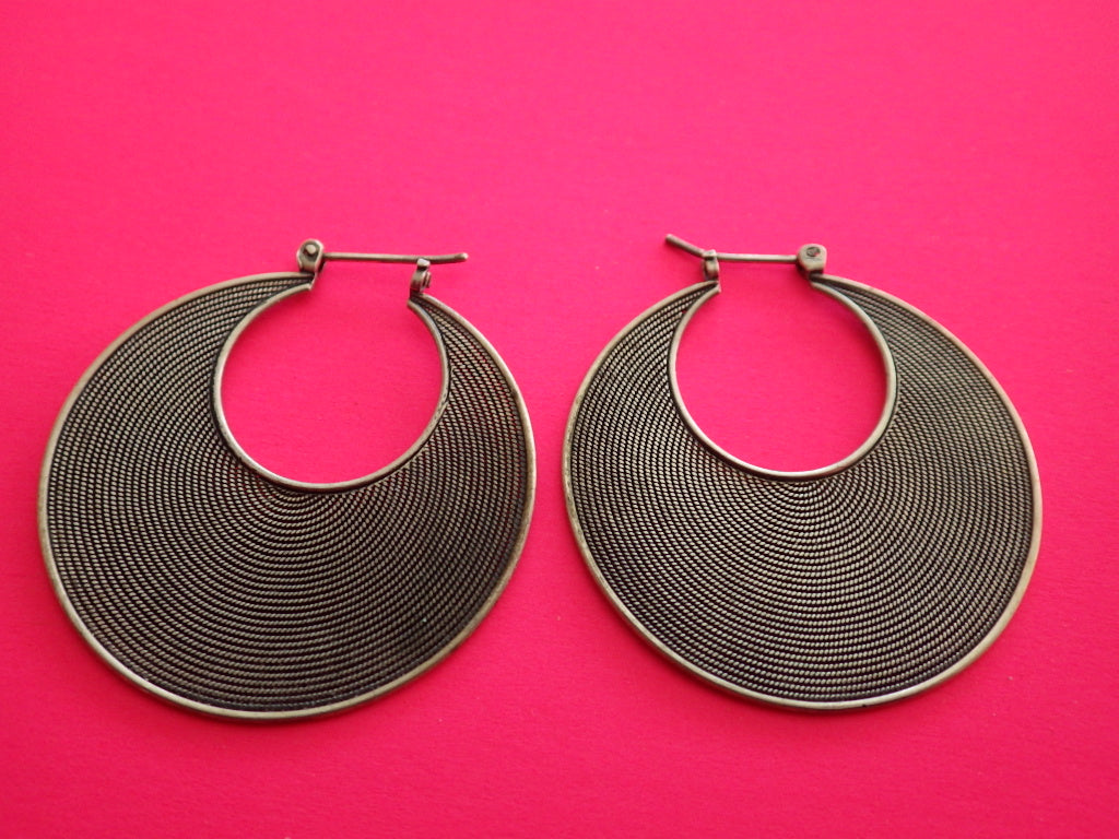 Vintage Sterling Silver Textured Hoop Earrings 1 1/4""