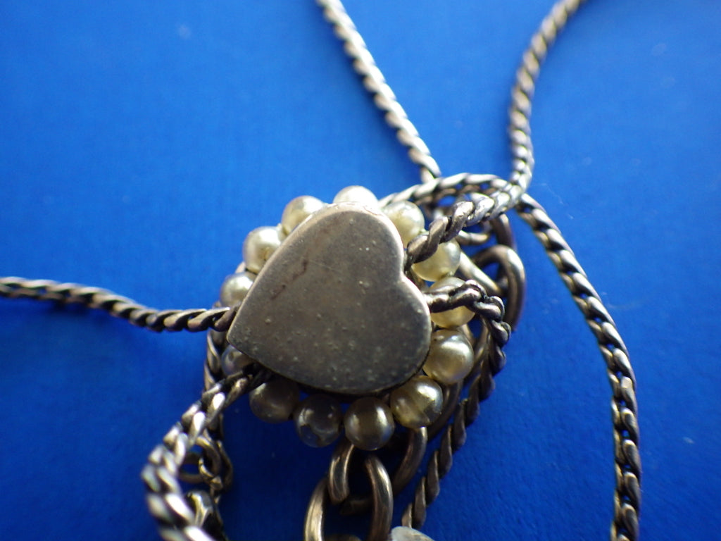 Vintage Kein Pewter & Pearl Lariat Necklace