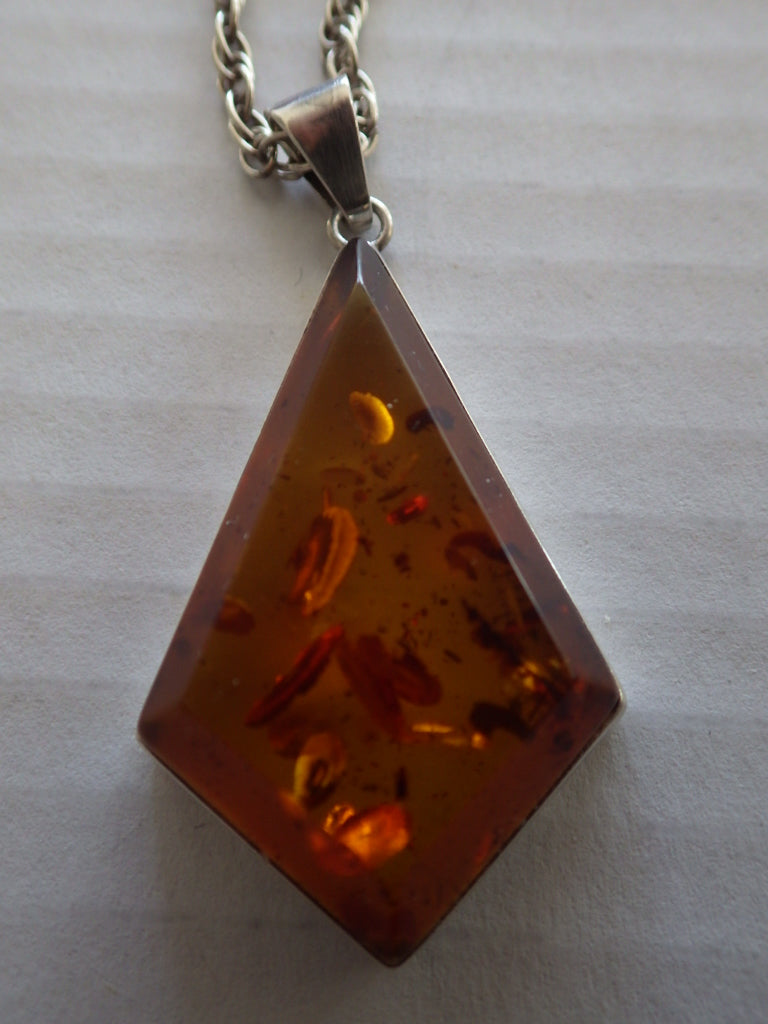 Antique Triangular Baltic Amber Pendant & Sterling Silver Chain