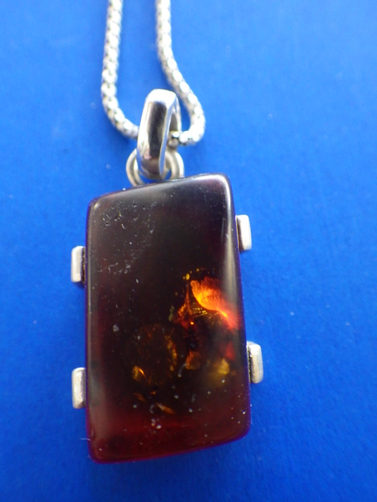 Art Deco Antique Baltic Amber Sterling Silver Pendant