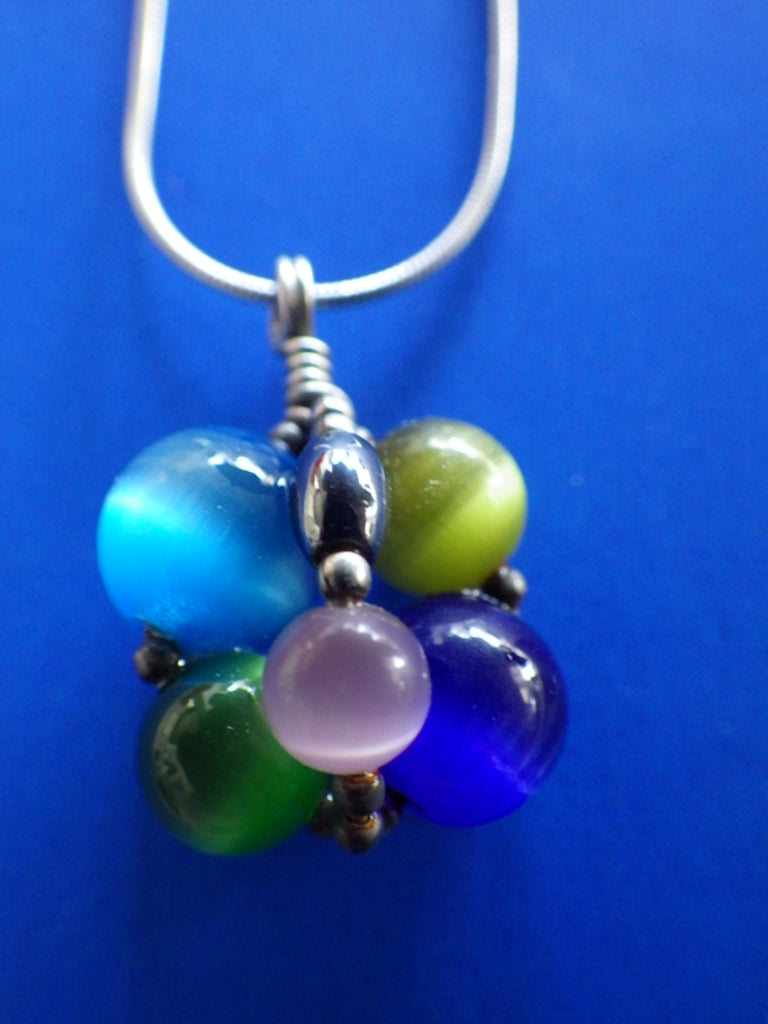 Vintage Sterling Silver Polished Gemstone Multi Cluster Pendant