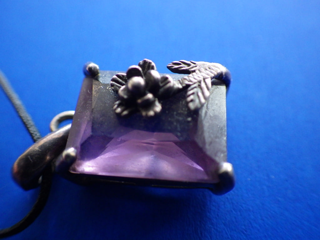 Vintage Sterling Silver Amethyst Crystal Necklace with Rose Motif