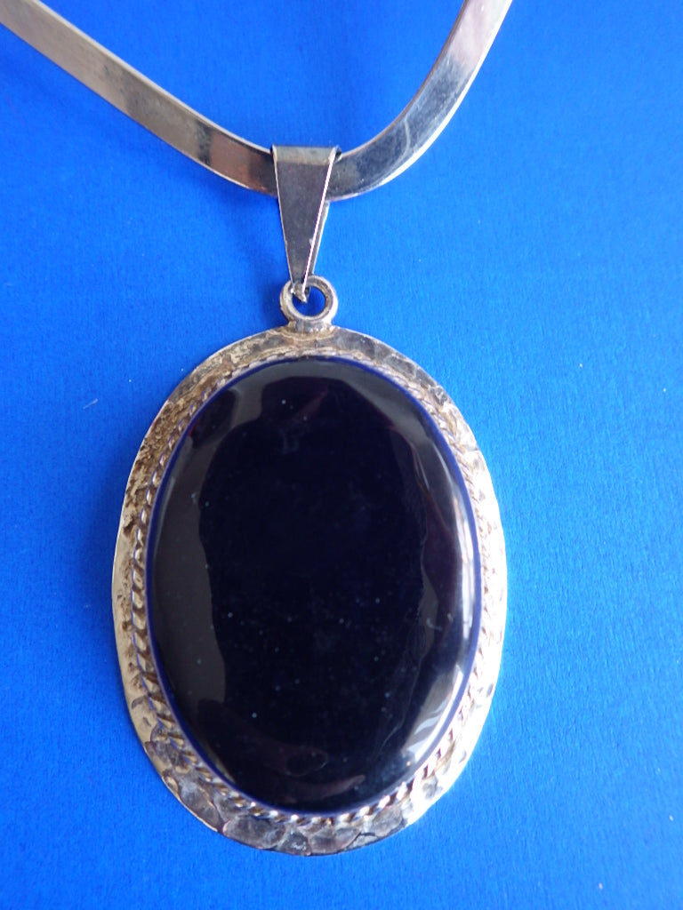 Amazing Vintage Mexico Sterling Silver 925 Black Onyx Pendant Choker