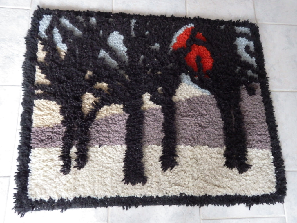 Mid Century Tree of Life Sunset Hook Wool Rug