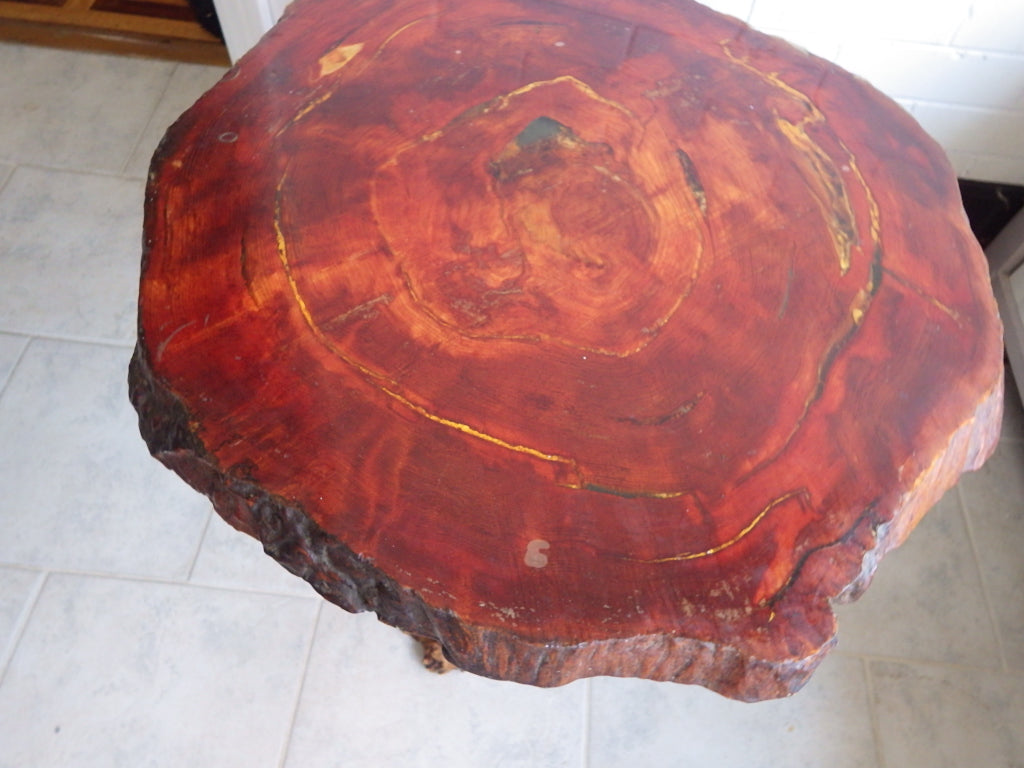 "Mid Century Organic 2"" Slab Burlwood Coffee Table"
