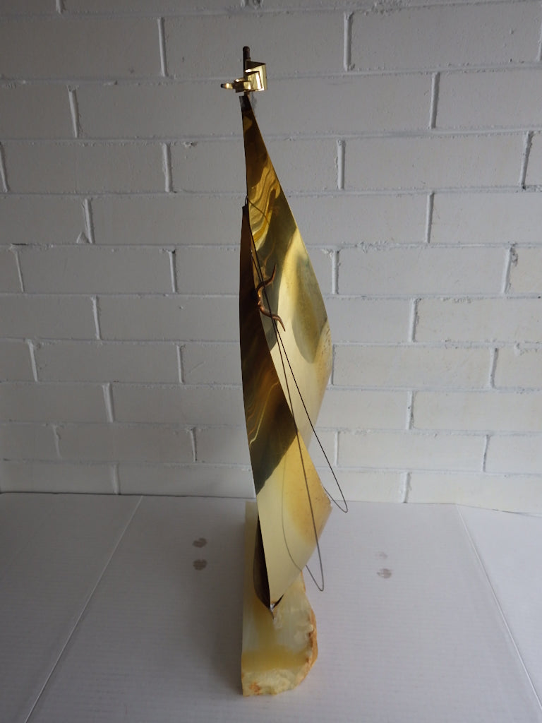 Mid Century Brass Sailboat Sculpture on Onyx by Demott