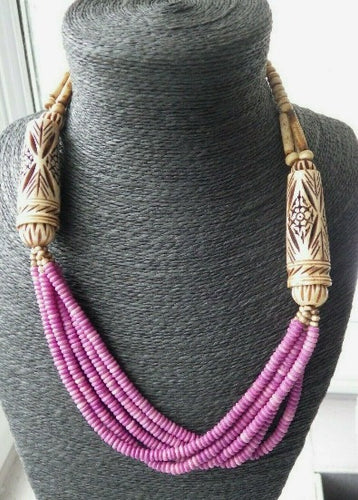 Monies Gerda Lynggaard Pink & Natural Horn Carved Beaded Strand Necklace