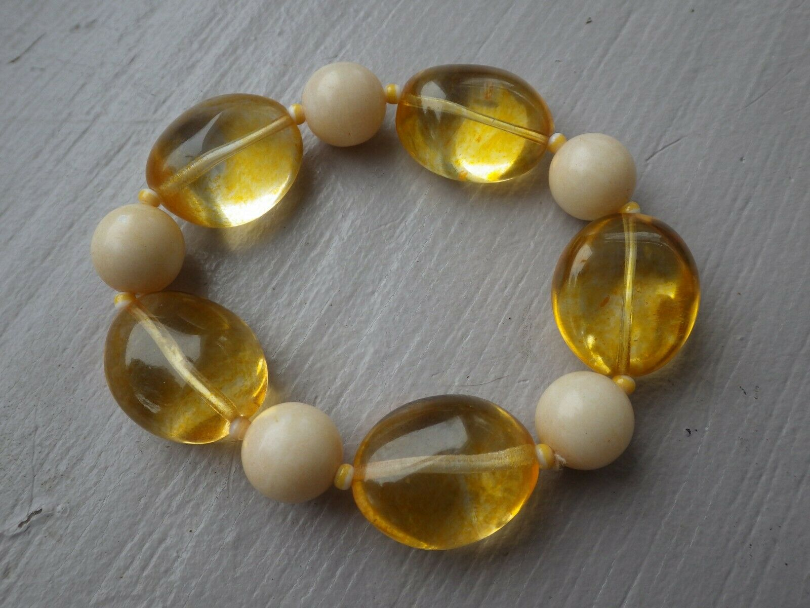 Vintage Honey Light & Butter Amber Chunky Stretch Bracelet