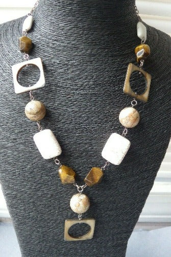 Sterling Silver Mixed Agate Stone & Tiger Eye Statement Necklace