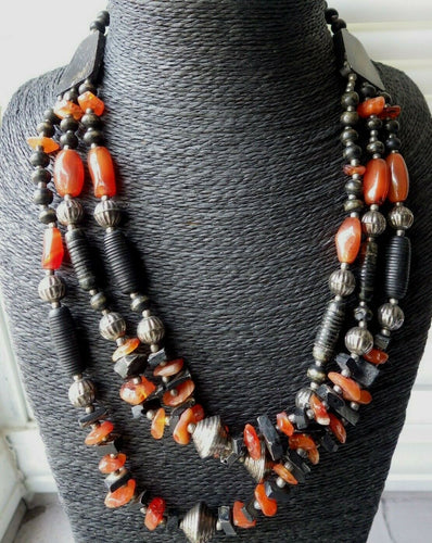 Monies Gerda Lynggaard Black & Amber Chunk Horn Multi Strand Necklace