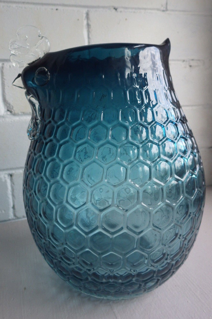 Italian Honey Comb Art Glass Chicken Shape Vase