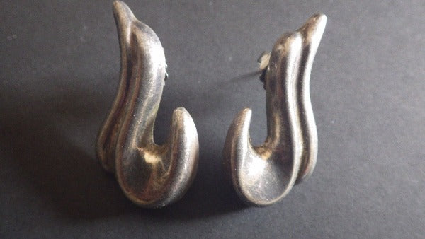 Modernist Sterling Silver Pierced Earrings Mexico 925