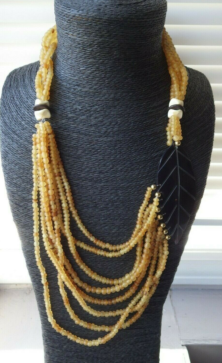 Monies Gerda Lynggaard Multi Strand Seed Beaded Lucite Leaf Necklace