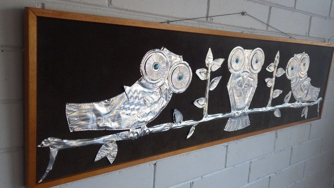 Modern Teak Owl Wall Art Plaque Sculpture