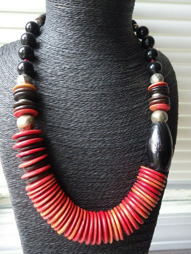 Monies Gerda Lynggaard Red Dyed Horn & Wood Strand Necklace