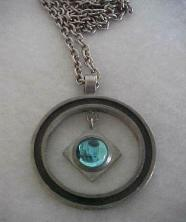 Modernist Sweden Pewter Pendant & Chain