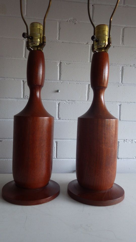 Vintage Pair Mid Century Danish Modern Solid Teak Table Lamps