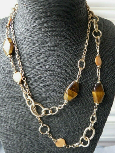 Gold Tone Twisted Textured Chain Tiger Eye Necklace
