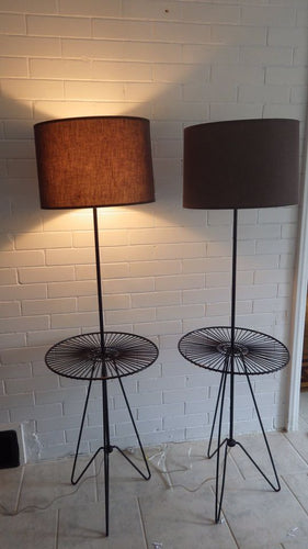 Very Rare Tripod Wire Tony Paul Style 1950s Atomic Floor Lamps