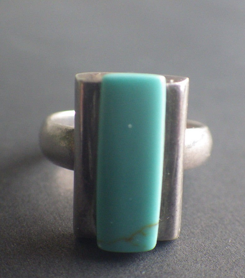 Genuine Turquoise Mexico Sterling Silver Ring