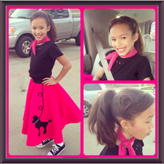Collage of girl in Pookey Snoo fuschia poodle skirt, matching scarf, and black t-shirt with rhinestones