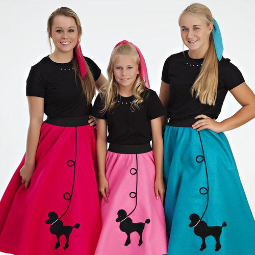 Womens 4 Piece Poodle Skirt Set with Scarf, Slip & Black Shirt by Pookey Snoo
