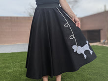 Load image into Gallery viewer, 4-Piece Adult Set Poodle Skirt, Scarf, Slip & Black T-shirt with Rhinestones