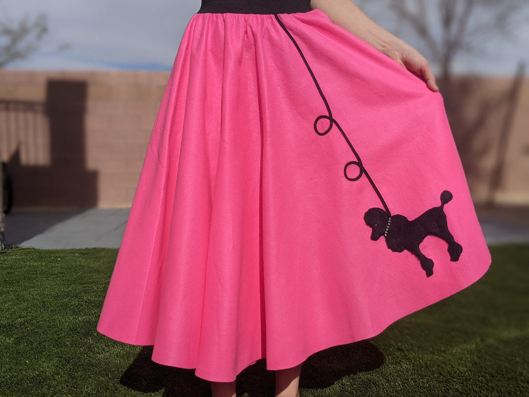 3-Piece Adult Set Poodle Skirt, Scarf & Black T-shirt with Rhinestones